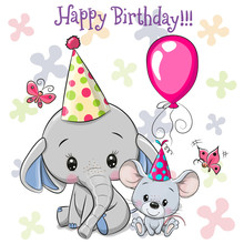 Cute Elephant And Mouse With B...