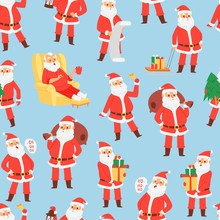 Merry Christmas And Happy New Year Seamless Pattern With Santa Claus And Gifts, Vector Illustration. Santa With Bag, Saying Ho Ho, Holding Gifts And Sitting In Armchair.