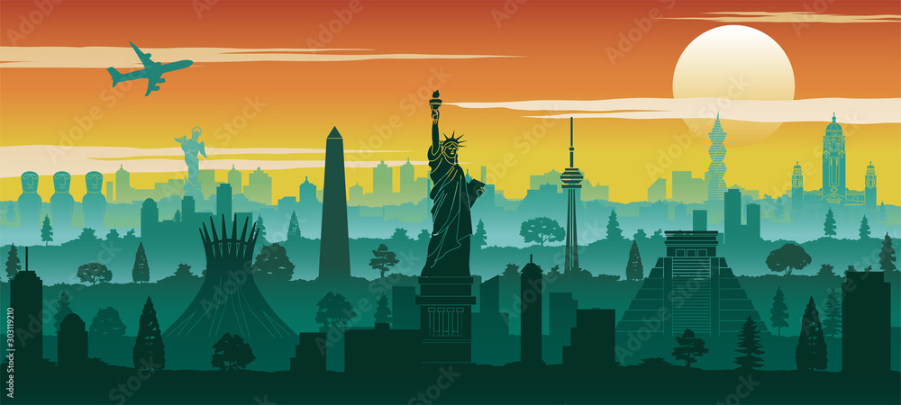 Fototapeta america famous landmark silhouette style with row design on sunset time,vector illustration