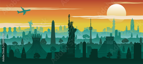 Photo america famous landmark silhouette style with row design on sunset time,vector i