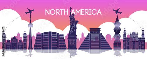 Cuadros en Lienzo  famous landmark of north america,travel destination,silhouette design,purple and