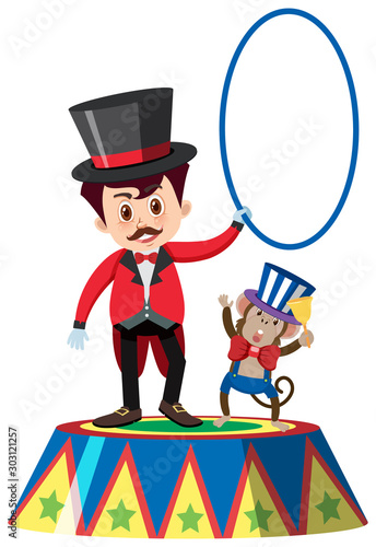 Single character of on circus master and monkey white background Canvas Print