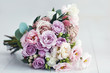 canvas print picture - beautiful delicate flower bouquet with roses, ranunculuses, eustomas and carnations