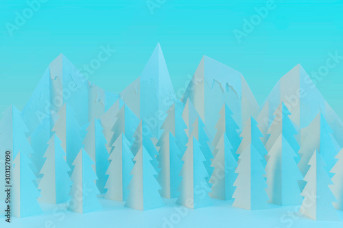 Photo Stands Turquoise Winter paper landscape with mountains and pine trees