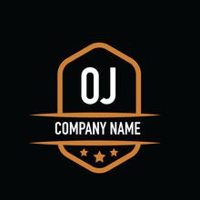 Initial Letter Oj Vintage Logo...