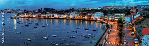 Panoramic View of Fishing Town by Night Mugardos La Coruña Galicia