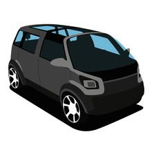 Minivan Grey Realistic Vector ...