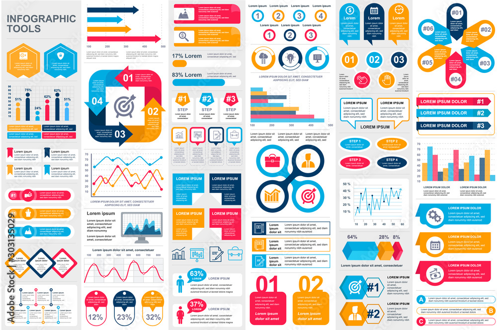 Fototapeta Bundle infographic elements data visualization vector design template. Can be used for steps, business processes, workflow, diagram, flowchart concept, timeline, marketing icons, info graphics. - obraz na płótnie