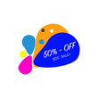 Sale discount icons. Special offer price signs. Speech bubbles or chat symbols. Colored elements. Vector