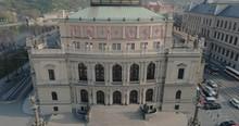 Tilt Shot Of Czech Philharmonic - Prague - Czech Republic - 4K Drone Video