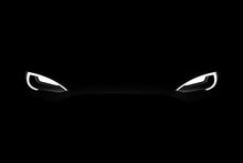Headlights Of Black Electric Car In The Dark. Vector Illustration EPS 10
