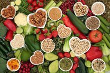Natural Health Food For Vegans With Super Foods High In Vitamins, Minerals, Antioxidants, Dietary Fibre, Protein, Omega 3, Anthocyanins & Smart Carbs. Ethical Eating For A Healthy Planet Concept.