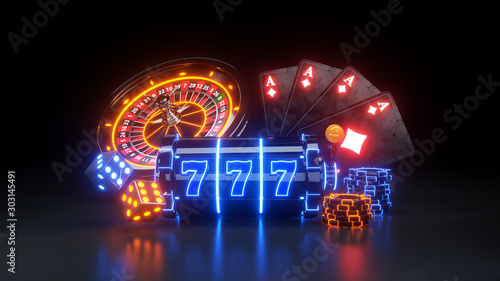 Papel de parede  Casino Futuristic Concept Design Slot Machine and Poker Chips - 3D Illustration