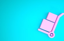 Pink Hand Truck And Boxes Icon...
