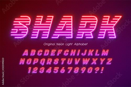 Neon light 3d alphabet, extra glowing font. Canvas Print