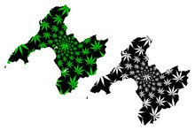 Gwynedd (United Kingdom, Wales, Cymru, Principal Areas Of Wales) Map Is Designed Cannabis Leaf Green And Black, Gwynedd Map Made Of Marijuana (marihuana,THC) Foliage....