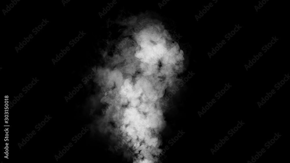 Fototapeta Explosion smoke on isolated black background. Abstract texture overlyas. Design element.