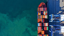 Aerial Top Down Photo Of Industrial Cargo Container Logistics Terminal