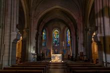 Nave Of Catholic Saint-Pierre De Montmartre Church, In Paris, France