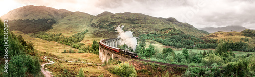 Glenfinnan Railway Viaduct with Jacobite steam train passing over Wallpaper Mural