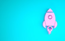 Pink Rocket Ship With Fire Ico...