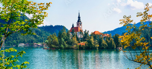 Idyllic nature scenery - beautiful magic lake Bled in Slovenia
