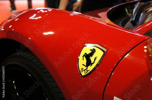 Valokuva KUALA LUMPUR, MALAYSIA - NOVEMBER 24, 2018: Selected focused of Ferrari car brand emblem and logos