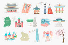 Set Of Doodle Flat Vector Illustration Sights And Attractions Of South Korea