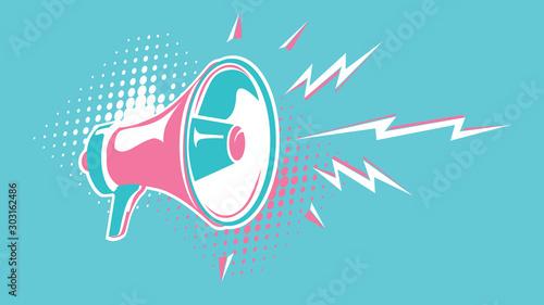 Shouting megaphone abstract advertising sign Wallpaper Mural