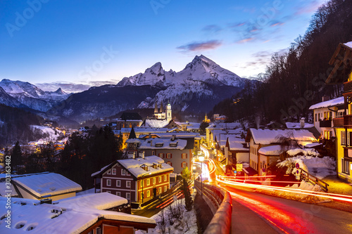 Historic town of Berchtesgaden with famous Watzmann mountain in the background, National park Berchtesgadener, Upper Bavaria, Germany #303163482