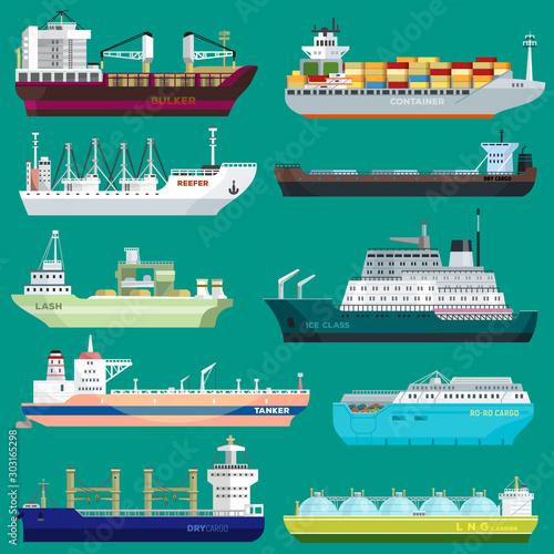Valokuva  Cargo ship vector shipping transportation export trade container illustration se