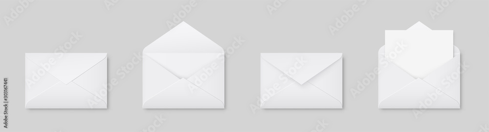 Fototapeta Realistic blank white letter paper C5 or C6 envelope front view. A6 C6, A5 C5, template open and closed on gray background - stock vector.