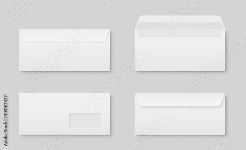 Photographie Realistic blank white letter paper DL envelope front view