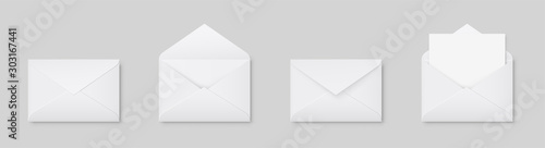 Foto Realistic blank white letter paper C5 or C6 envelope front view