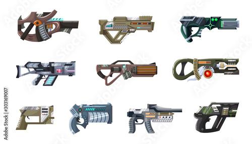 Photo Weapon vector space gun blaster laser gun with futuristic handgun and fantastic