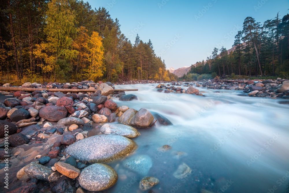Fototapety, obrazy: Morning on the Mountains River
