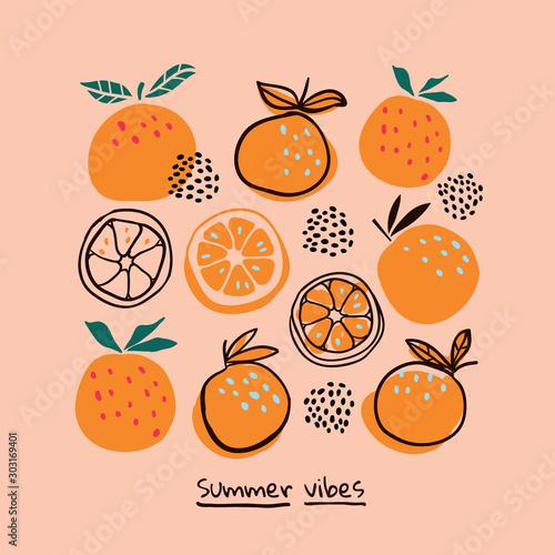 Stylish citrus oranges fruits poster