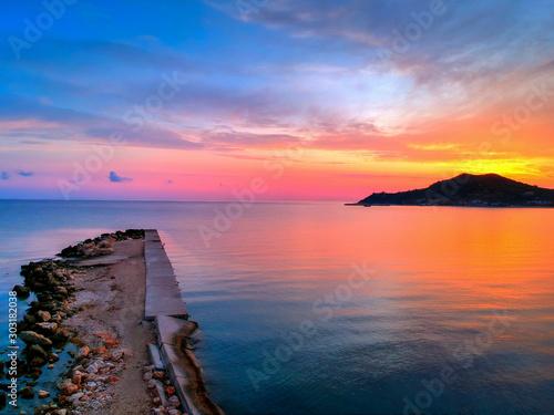 Spoed Fotobehang Europa Sunrise in Alykes beach on Zakynthos island. Blue, Greece.