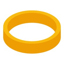 Gold Ring Icon. Isometric Of Gold Ring Vector Icon For Web Design Isolated On White Background
