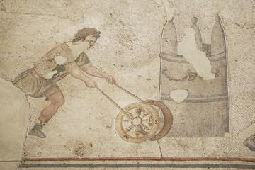 Vintage mosaic representing man with wheel