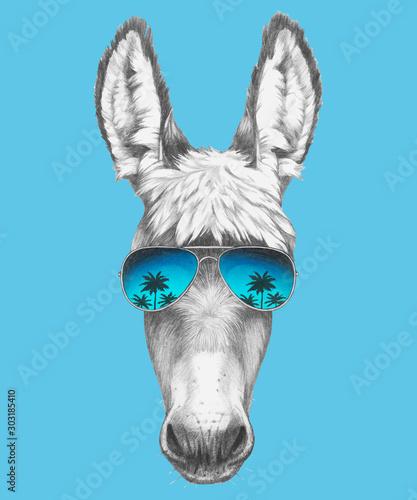 Stampa su Tela Portrait of Donkey with sunglasses