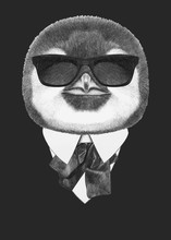 Portrait Of Penguin In Suit. Hand-drawn Illustration. Vector Isolated Elements.