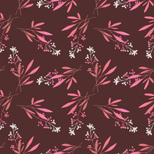 Seamless Pattern With Berries. Hand Drawn Illustration. Vector Design Template.