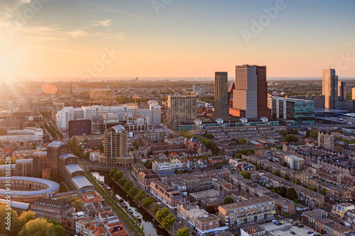 Keuken foto achterwand Las Vegas aerial view on the city centre of The Hague