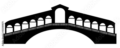 gz588 GrafikZeichnung - german: Rialtobrücke in Venedig, Italien - english: rial Canvas Print