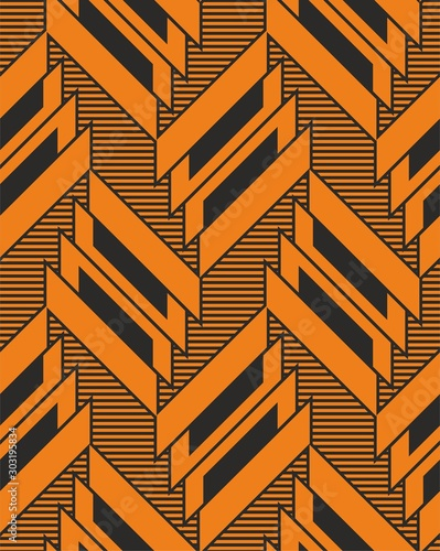 Okleiny na drzwi - Złudzenie optyczne  diagonal-orange-colored-shapes-seamless-geometric-pattern-lines-stripes-print-of-fabric-or
