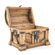 Open Wooden Chest Box Isolated...
