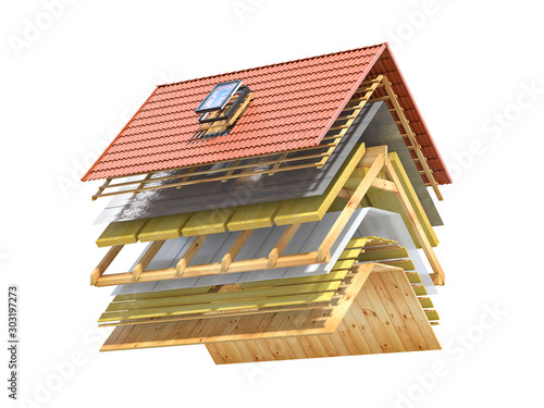 Fototapeta Cross section and  scheme of  ceramic tiles roof.  Roof cover in layers isolated on white. obraz