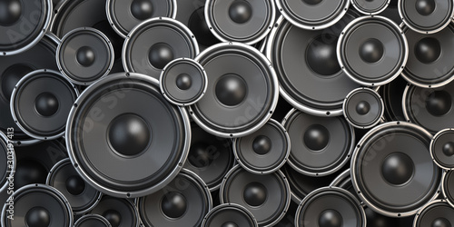 Acoustic sound speakers background Canvas Print
