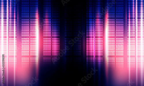 Background of empty stage show. Neon light and laser show. Laser futuristic shapes on a dark background. Abstract dark background with neon glow